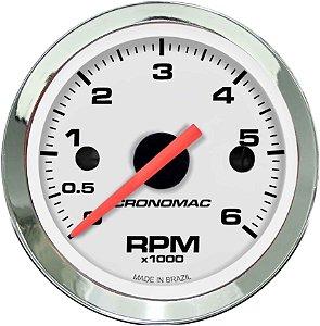 Contagiro 6000RPM ø52mm 2/4/6/8 Cil Cromado/Branco | Cronomac