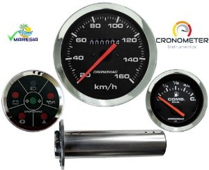 KIT 3 Instrumentos ø100mm/52mm Fusca/Buggy BOIA DE TUBO PARA TANQUE DE FUSCA SOMENTE Cromado/Preto| Cronomac