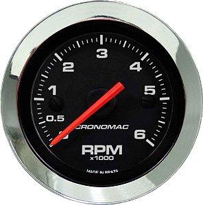 Contagiro 6000RPM ø52mm 2/4/6/8 Cil Cromado/Preto| Cronomac