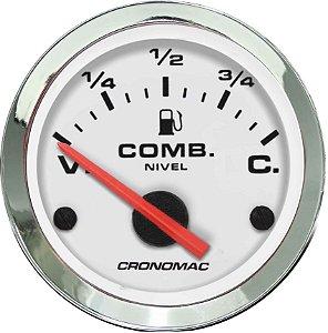 Indicador Nível de Combustível ø52mm 125 Cromado/Branco | Cronomac