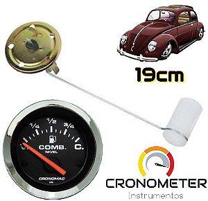 Indicador de Combustível com Boia Haste 19cm Fusca Tanque Normal V=70/C=7 Cromado/Preto