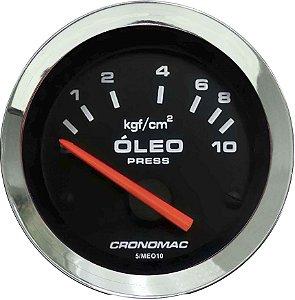 Manômetro Óleo 10KGF/CM² Elétrico 12 Volts ø52mm Cromado/Preto| Cronomac