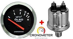 Manômetro Óleo 5KGF/CM² Elétrico 12 Volts  COM Sensor ø52mm Cromado/Preto| Cronomac