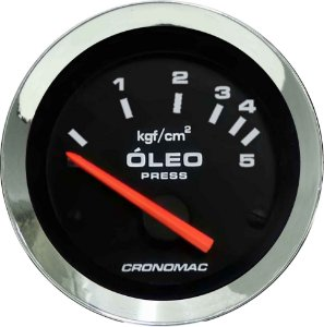 Manômetro Óleo 5KGF/CM² Elétrico 12 Volts ø52mm Cromado/Preto| Cronomac