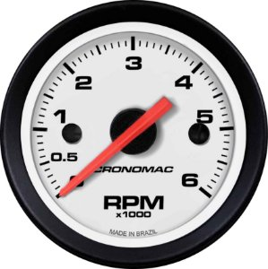 Contagiro 6000RPM ø52mm Diesel Ajuste Street/Branco| Cronomac