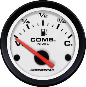Indicador Nível de Combustível ø52mm 425 Sreet/Branco| Cronomac