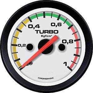 Manômetro Turbo 1KGF/CM² COM FAIXA ø52mm Street/Branco| Cronomac