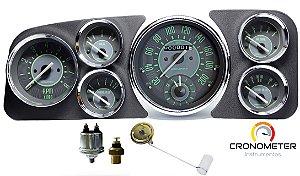 Painel Fusca 200km/h e Velocimetro com Relógio Horas - Cronomac Completo COM Sensores e Boia de Braço - Verde