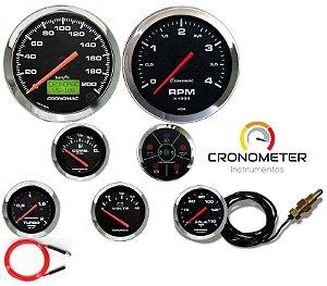 Kit 7 Instrumentos Linha Diesel - Velocímetro Eletrônico e Termômetro Mecânico- Cromado/Preto| Cronomac (407)