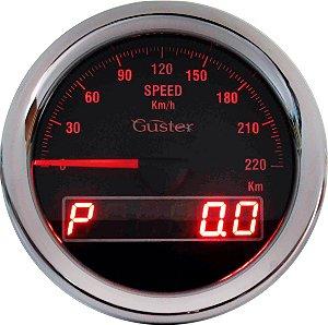 Velocímetro 85mm Eletrônico com Ponteiro e Odometro Digtal Total/Parcial - VO-31 Vermelho | Guster