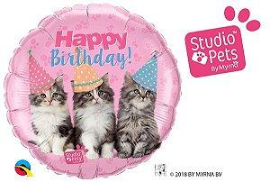 """Studio Pets – Feliz Aniversário com Gatinhos Tamanho e forma: 18"""" redondo"""