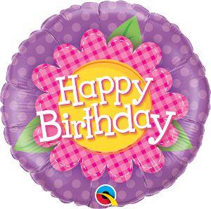 Balão Metalizado Aniversário, Xadrez Rosa com Margarida