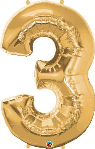 Número Três - Ouro metálico