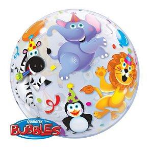 Balão Bubble Transparente Animais da Floresta Party