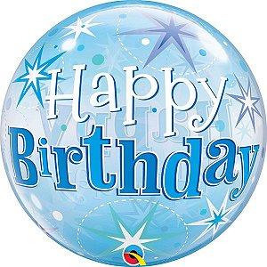 Balão Bubble Transparente Aniversário Azul Explosão de Estrelas