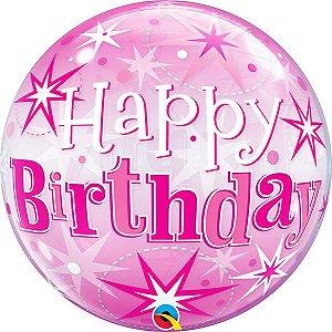 Balão Bubble Transparente Aniversário Rosa Explosão de Estrelas