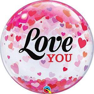 Balão Bubble Transparente  Eu Te Amo com Confetes de Coração