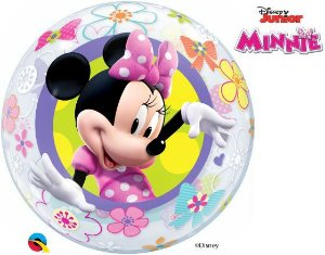Balão Bubble Transparente Disney Minnie - 22'' 56cm - Qualatex