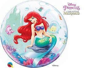 Balão Bubble Transparente Disney Pequena Sereia Festa Sereia - 22'' 56cm - Qualatex