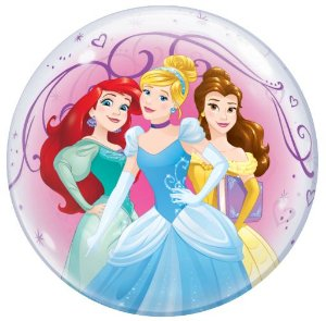 Balão Bubble Transparente Disney Princesas - 22'' 56cm - Qualatex