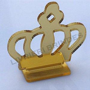 DUPLICADO - Aplique 5cm Acrílico Espelhado Coroa Com Base