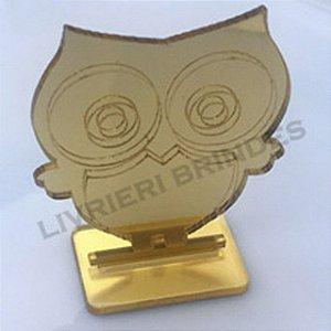 DUPLICADO - Aplique 5cm Acrílico Espelhado Coruja Com Base