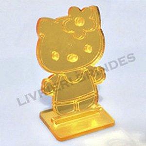DUPLICADO - Aplique 5cm Acrílico Espelhado Hello Kitty Com Base