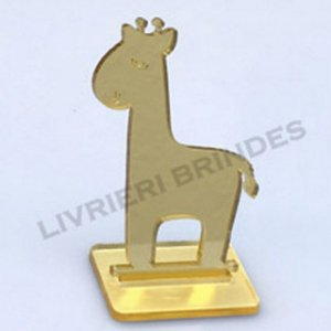 DUPLICADO - Aplique 5cm Acrílico Espelhado Girafa Com Base