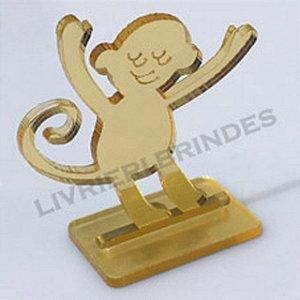 Aplique 5cm Acrílico Espelhado Macaco Com Base