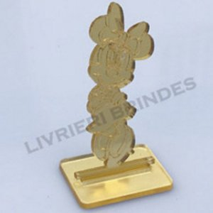 Aplique 5cm Acrílico Espelhado Minnie  Com Base