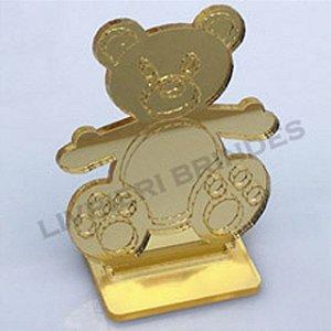 Aplique 5cm Acrílico Espelhado  Urso Com Base