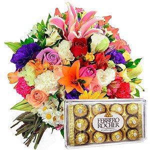 Buquê Mix de Flores Nobres  com Ferrero Rocher
