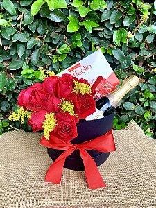 Box luxuoso de rosas e chocolates