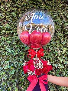 Box De Rosas Com Balão Bubble
