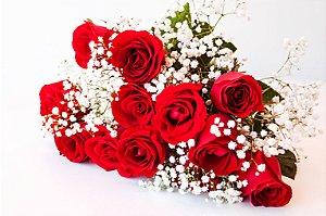 Buquê tradicional de 12 Rosas vermelhas
