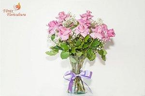 Luxuoso Arranjo Rosas Lilás