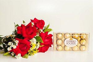 Buquê de Rosas 6 com Ferrero Rocher