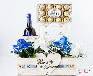 Cesta Romântica com Vinho e Ferrero Rocher