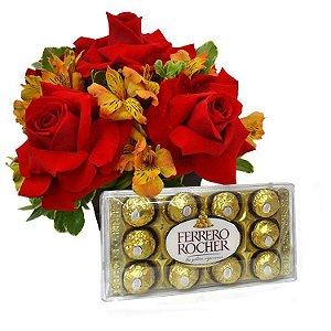 Arranjo de Rosas Premium e Astromelias com Ferrero Rocher
