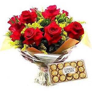 Luxuoso buquê de rosas colombianas com Ferrero Rocher