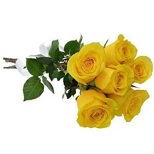 Buquê de 6 Rosas Amarelas Ouro