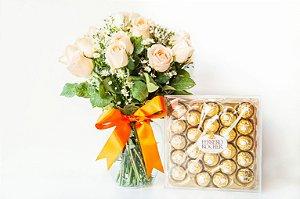 Luxuoso Arranjo de rosas Champanhe com estojo de Ferrero Rocher