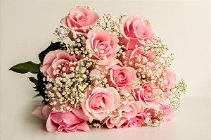 Luxuoso buquê de rosas colombianas na cor rosa