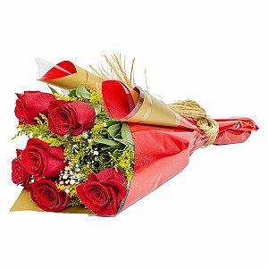 Buquê de 6 rosas premium