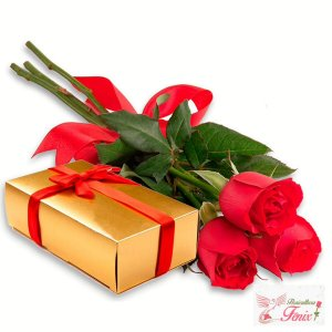 Luxuosas Rosas Premium com Caixa de Chocolate