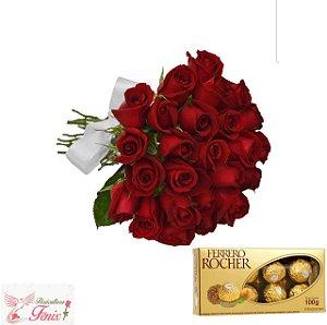 Buque de 18 rosas com Ferrero Rocher