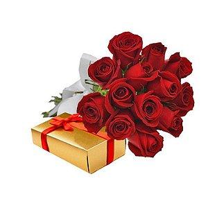 Buquê de 12 Rosas e Caixa de chocolate