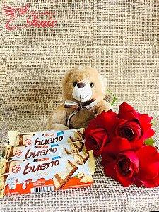 Trio de Rosas com Pelúcia e Chocolate