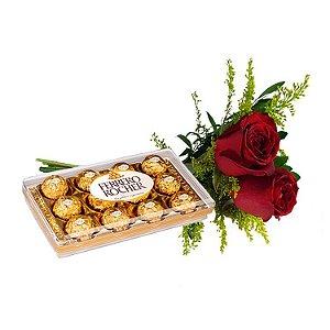 Buquê de 2 Rosas Vermelhas com Ferrero Rocher