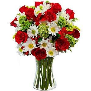 Arranjo de Flores e Vida Vermelho